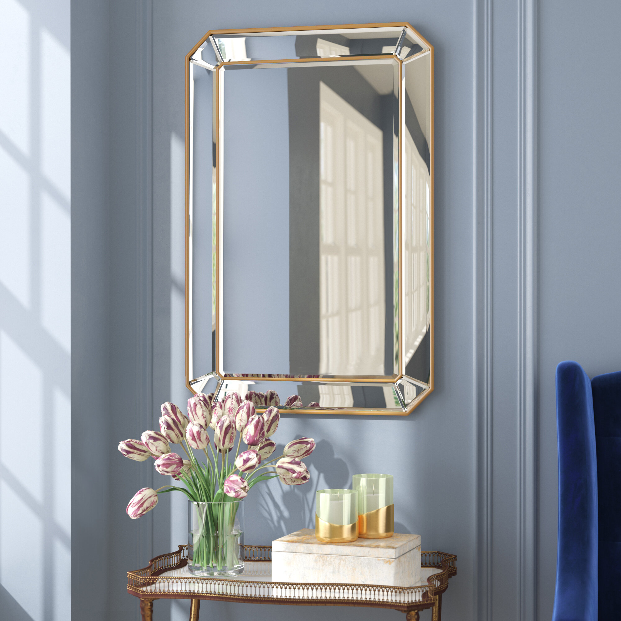 Willa Arlo Interiors Briley Rectangle Gold Angled Accent Wall Mirror