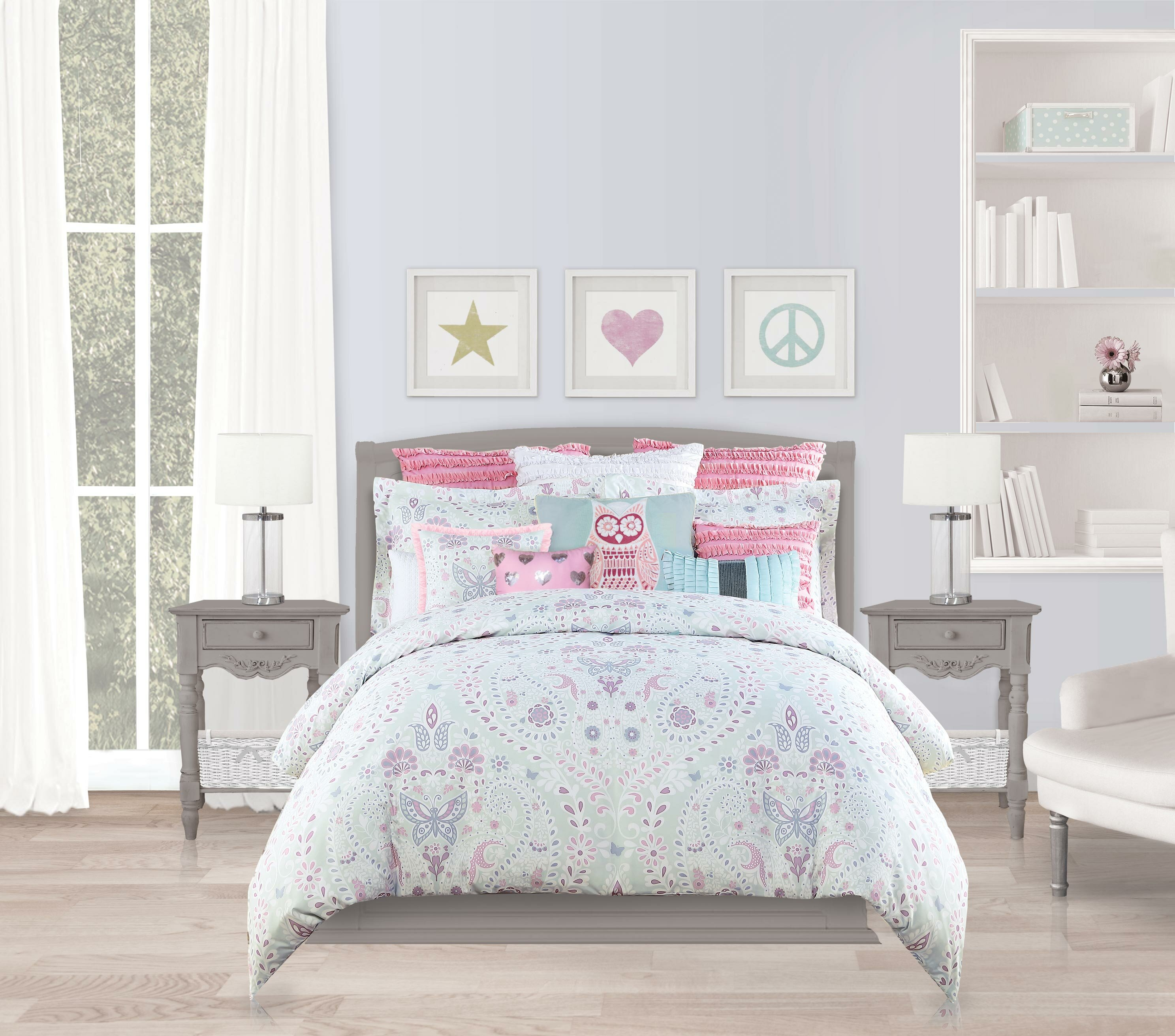 gallery purple comforter bed white glass sweet set and for comforters pink twin nuance bring with butterfly interior sheer on piece wooden of photos window frame combined bedroom bedding magnificent your