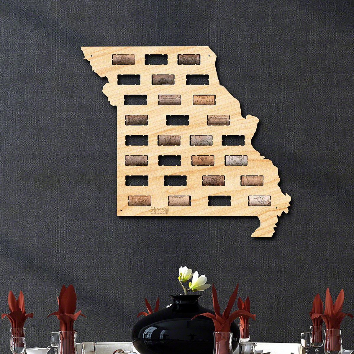 Millwood Pines Missouri Wine Cork Map Wall Décor | Wayfair