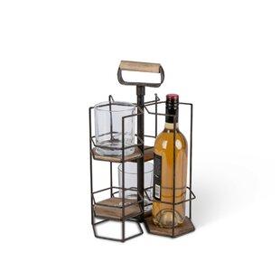 Deen Metal and Wood 1 Bottle Tabletop Wine Rack
