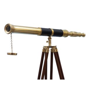 Maritime Antiques Nautical Antique Brass Telescope With Wooden Tripod Marine New Year Item Aesthetic Appearance
