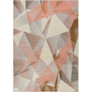Camren Modern Geometric Prisma Triangle Pink Area Rug