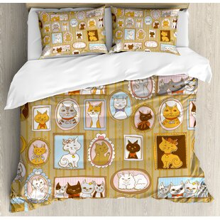 7d7e18bf8829 Cat Family Tree of A Kitty with Portraits Domestic Feline Characters  Gallery Humor Design Duvet Cover Set
