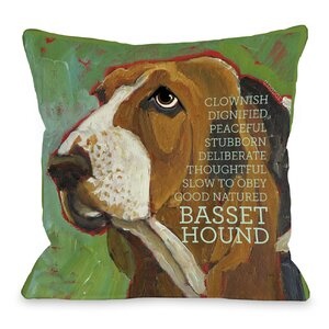 Doggy Du00e9cor Bassett Hound Throw Pillow
