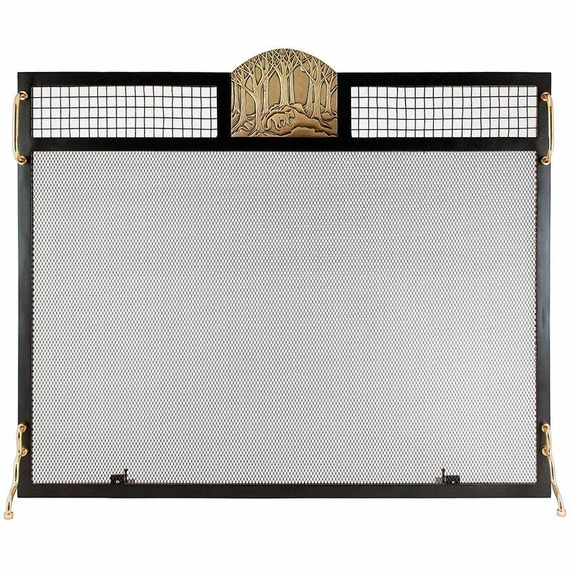 Forest Fox Emblem Single Panel Iron Fireplace Screen