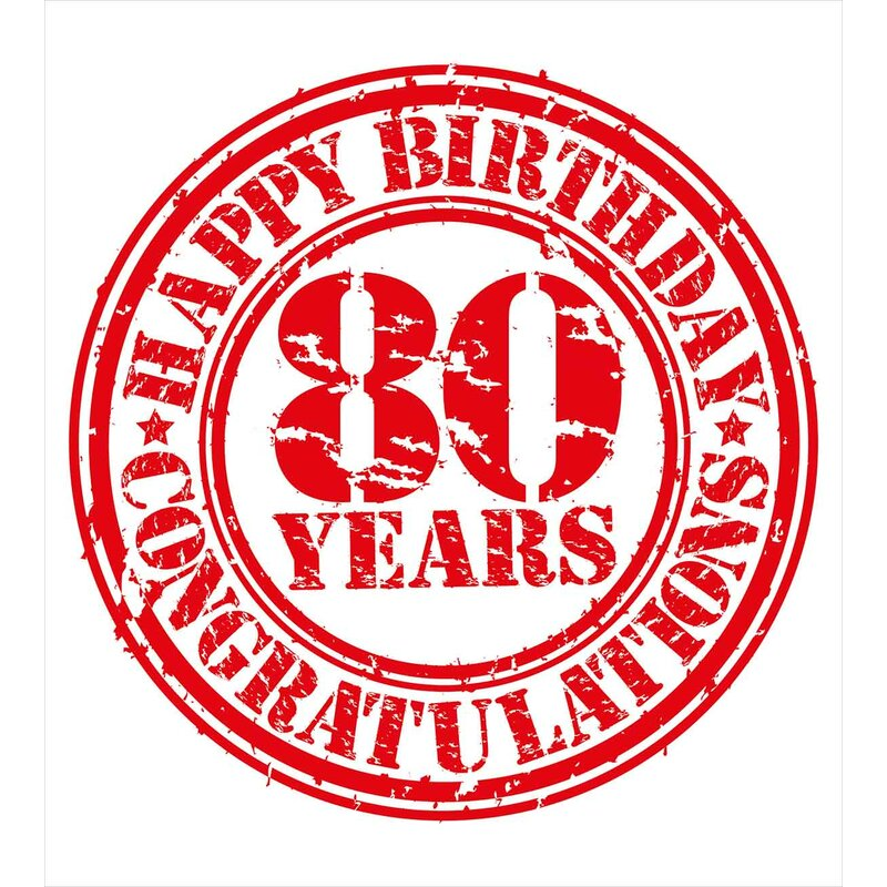 80th Birthday Decorations Happy Print Stamp Icon For 80 Years Old Image Duvet Cover