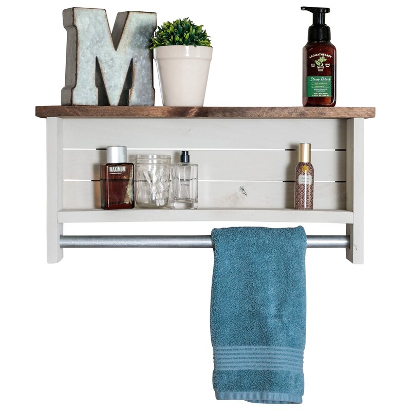Millwood Pines Volpe Farmhouse Wall Shelf with Towel Bar & Reviews ...