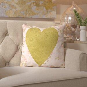 Peach & Gold Heart on Floral Throw Pillow