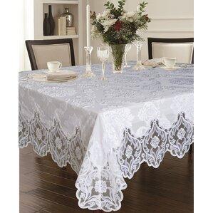 Charming Deluxe Elegant Velvet Lace Sheer Floral Design Tablecloth