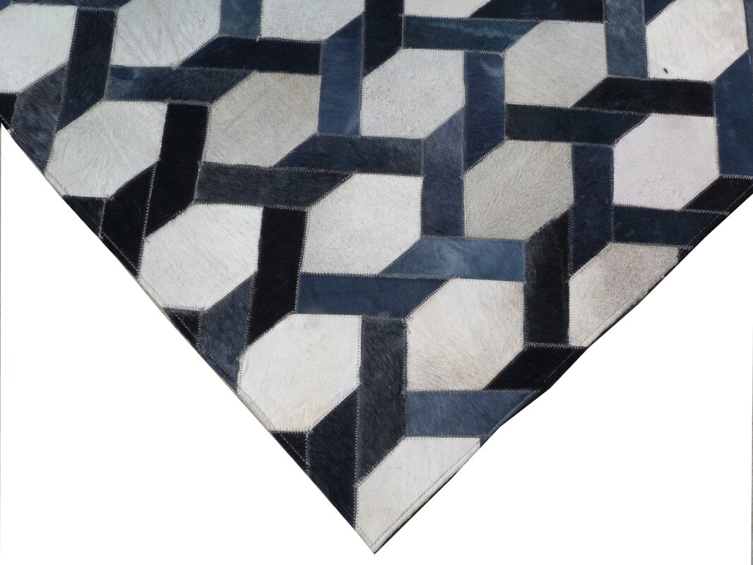 Natural Hide Hand Woven Cowhide Beige/Blue Area Rug