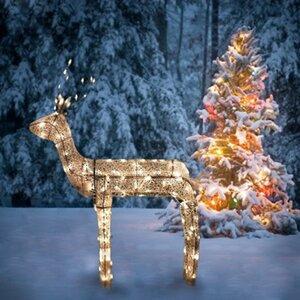 3-D Glitter Animated Standing Buck Reindeer Lighted Christmas Yard Art Decoration