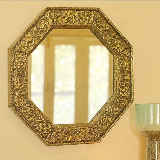 Novica Brass Repoussé Indian Artist Handmade Wall Mirror & Reviews ...