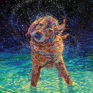 Iris Scott - 'Moonlight Swim' Painting Print on Wrapped Canvas