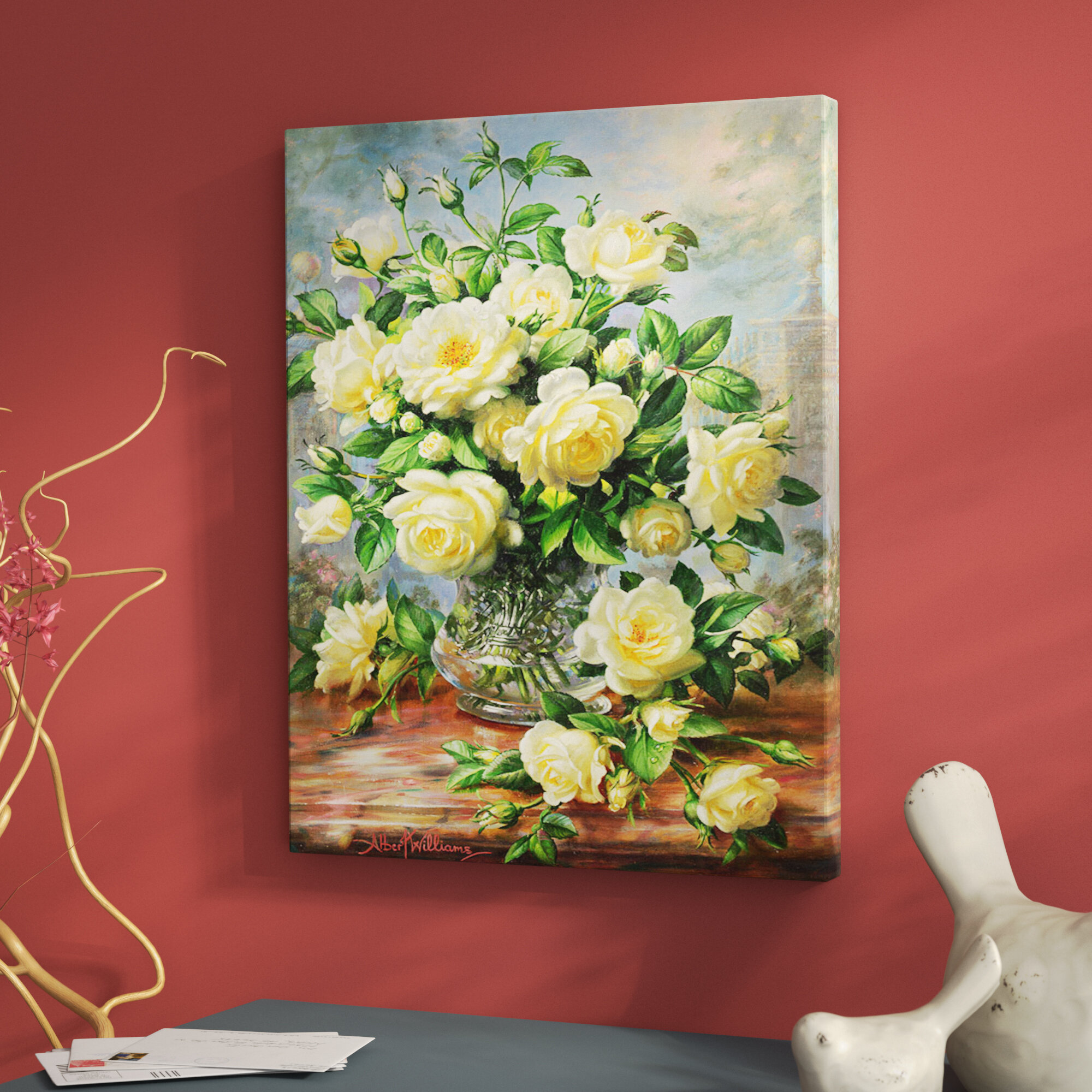 Charlton home princess diana roses in a cut glass vase painting charlton home princess diana roses in a cut glass vase painting print on canvas reviews wayfair reviewsmspy