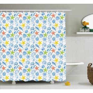 Farnham Marine Themed Starfish Shower Curtain
