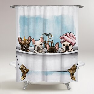 Oakledge Frenchies In The Tub Single Shower Curtain