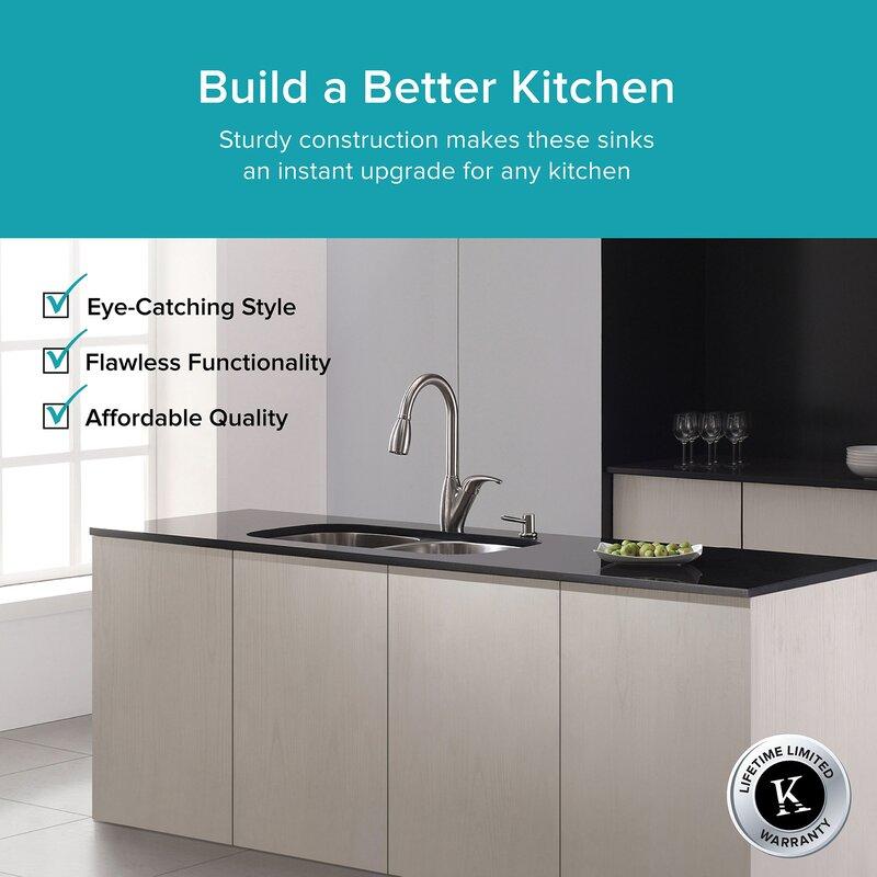 31   x 18   double basin undermount kitchen sink kraus 31   x 18   double basin undermount kitchen sink  u0026 reviews      rh   wayfair com