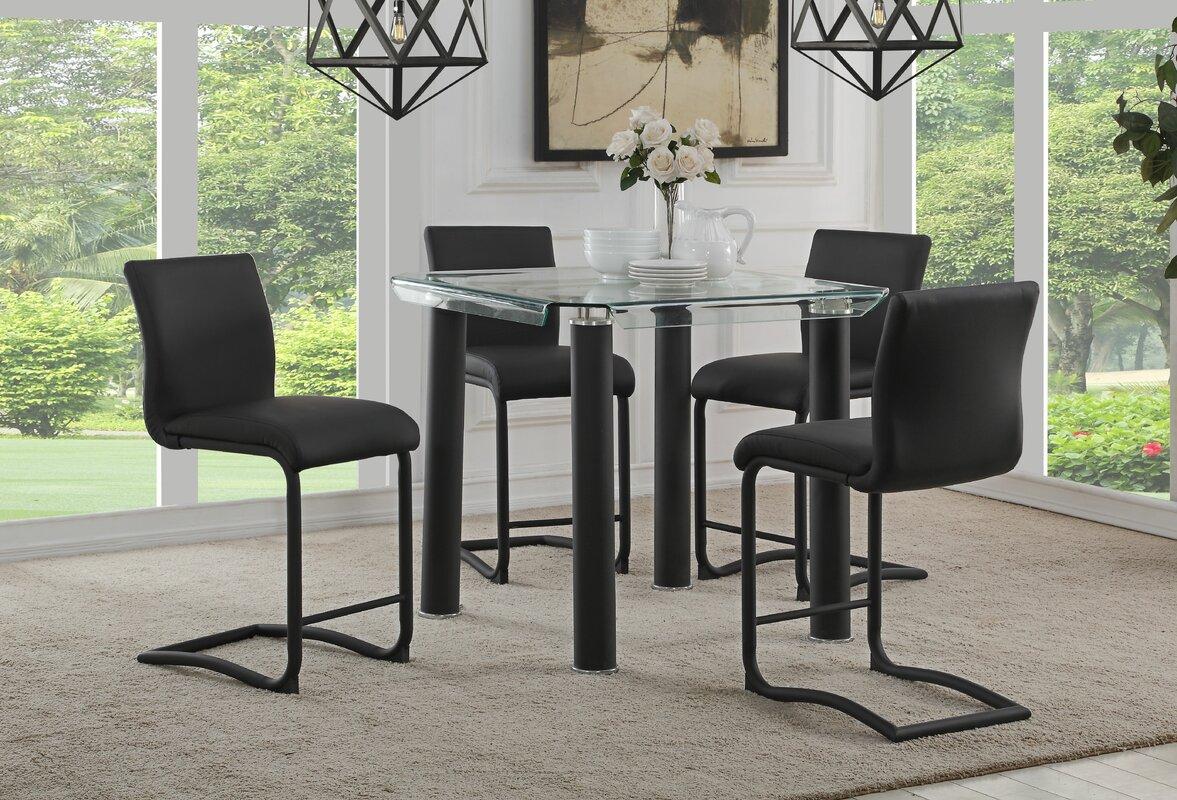 orren ellis len modern counter height upholstered dining chair