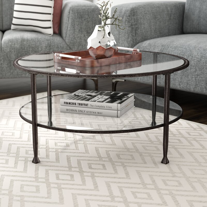 Glass Coffee Tables Next: Casas Metal And Glass Round Coffee Table & Reviews