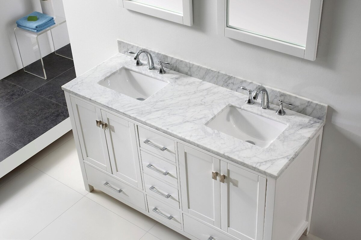 Default nameEviva Aberdeen 60  Double Bathroom Vanity Set   Wayfair. Elegant Bathrooms Aberdeen. Home Design Ideas