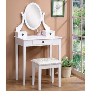 Marvelous Moniya Wood Vanity Set With Mirror