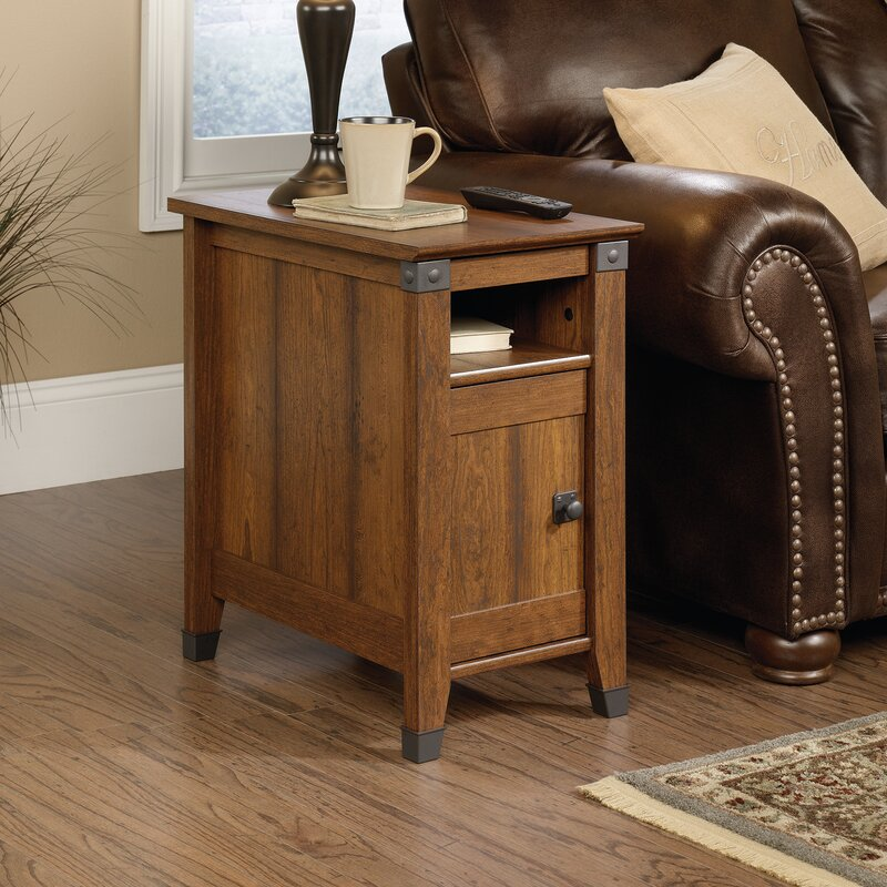 loon peak newdale end table with storage reviews wayfair. Black Bedroom Furniture Sets. Home Design Ideas
