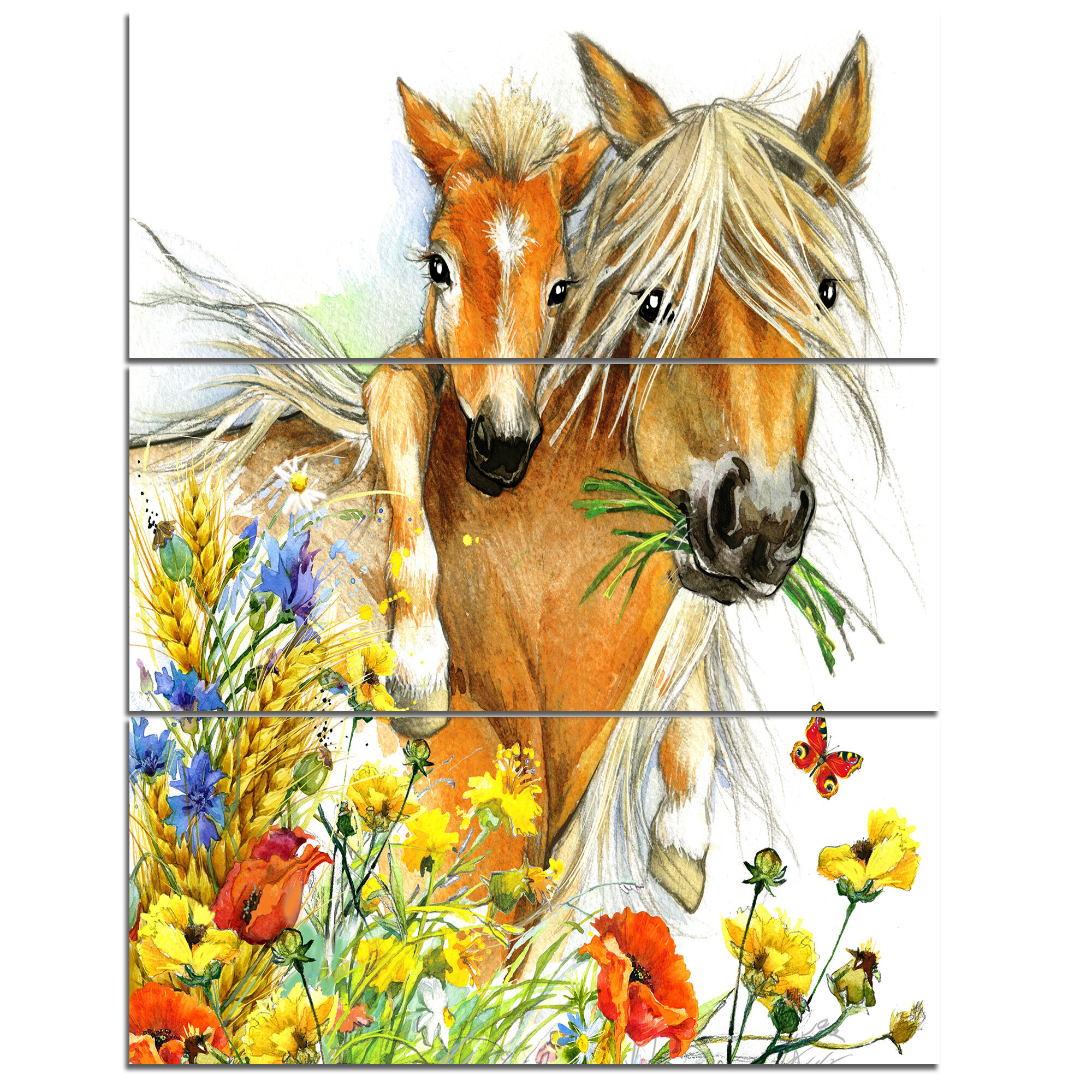 DesignArt \'Horse and Foal with Flowers\' 3 Piece Wall Art on Wrapped ...