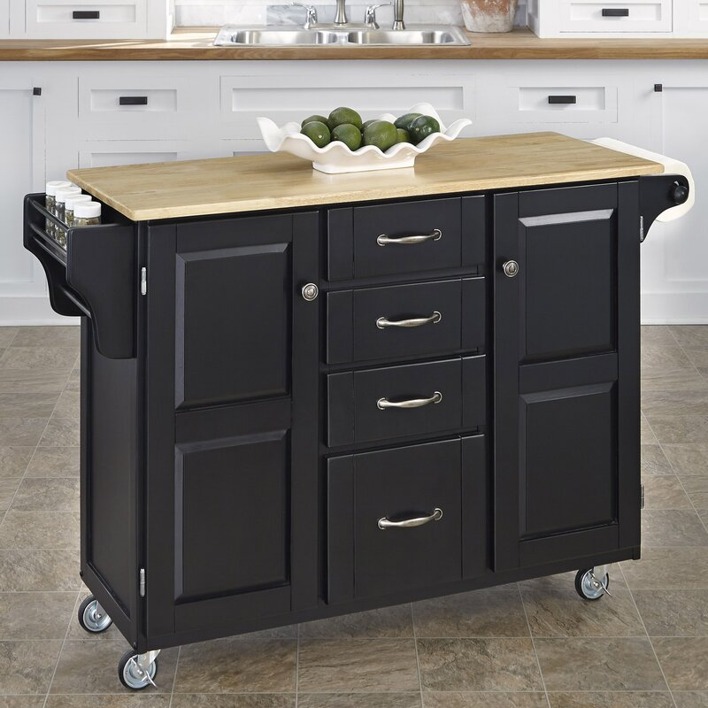 August Grove Woodland-a-Cart Kitchen Island with Butcher Block Top ...