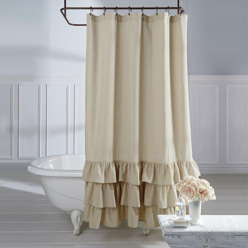 Stephania Vintage Ruffle Linen Shower Curtain Amp Reviews