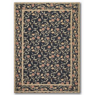 One Of A Kind Edgar French Needlepoint Transitional 6 X 9 Wool Black Beige Pink Area Rug