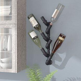 Darcie Industrial Pipe 6 Bottle Metal Wall Mounted Wine Bottle Rack