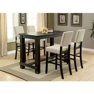 Duley 5 Piece Counter Height Solid Wood Dining Set Cool
