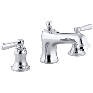 Bancroft Bath Faucet Trim for Deck-Mount High-Flow Valve with Non-Diverter Spout and Metal Lever Handles, Valve Not Included