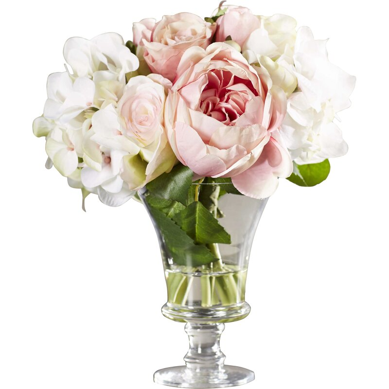 Faux Rose And Hydrangea Bouquet In Pedestal Glass Vase Reviews