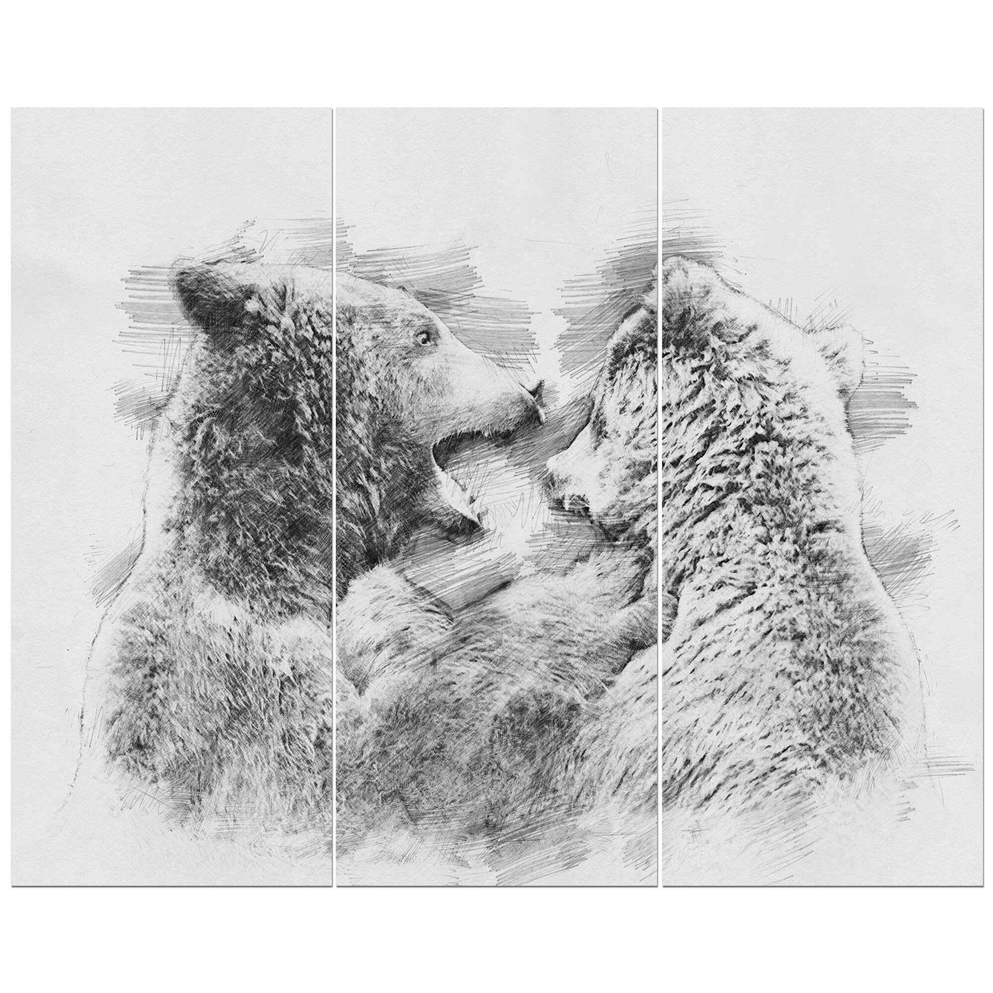 Black and white bear pencil sketch oil painting print multi piece image on wrapped canvas