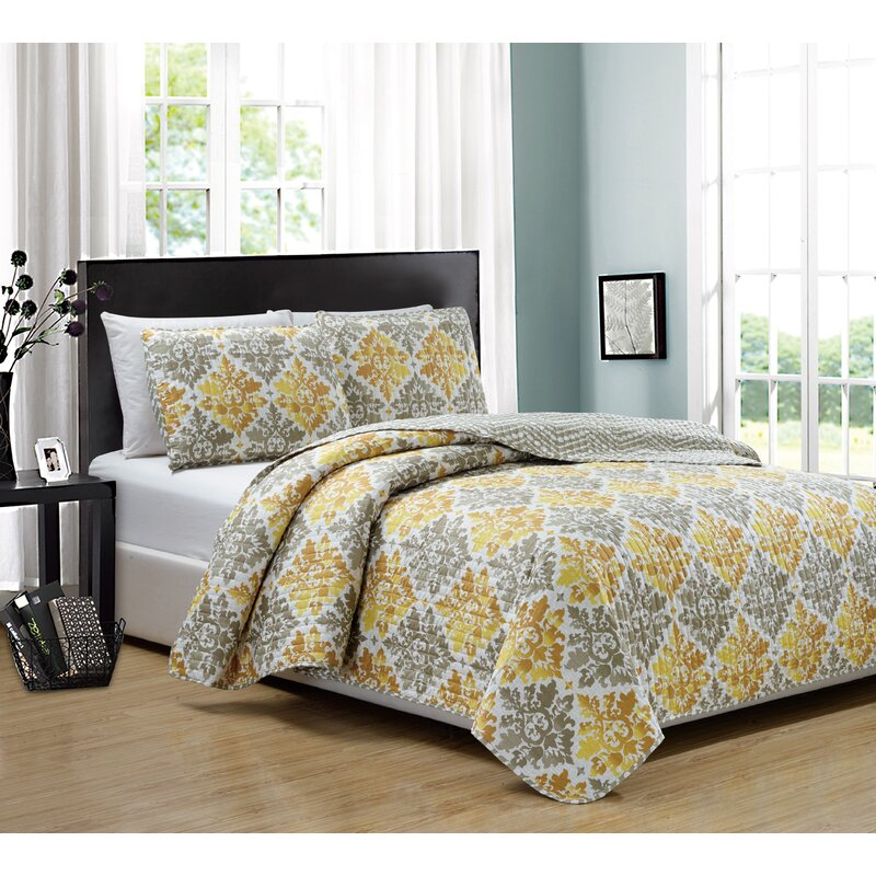 Rt Designers Collection Blossom Printed 3 Piece Reversible Quilt Set Quilts Bedspreads Coverlets Home Garden