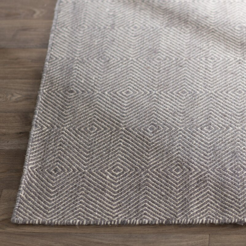 Mercury Row Marcelo Flat Woven Cotton Gray Area Rug