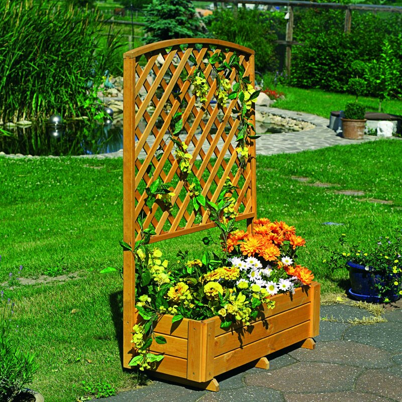 Dcor Design Apulia Wooden Planter Box With Trellis Wayfair Co Uk