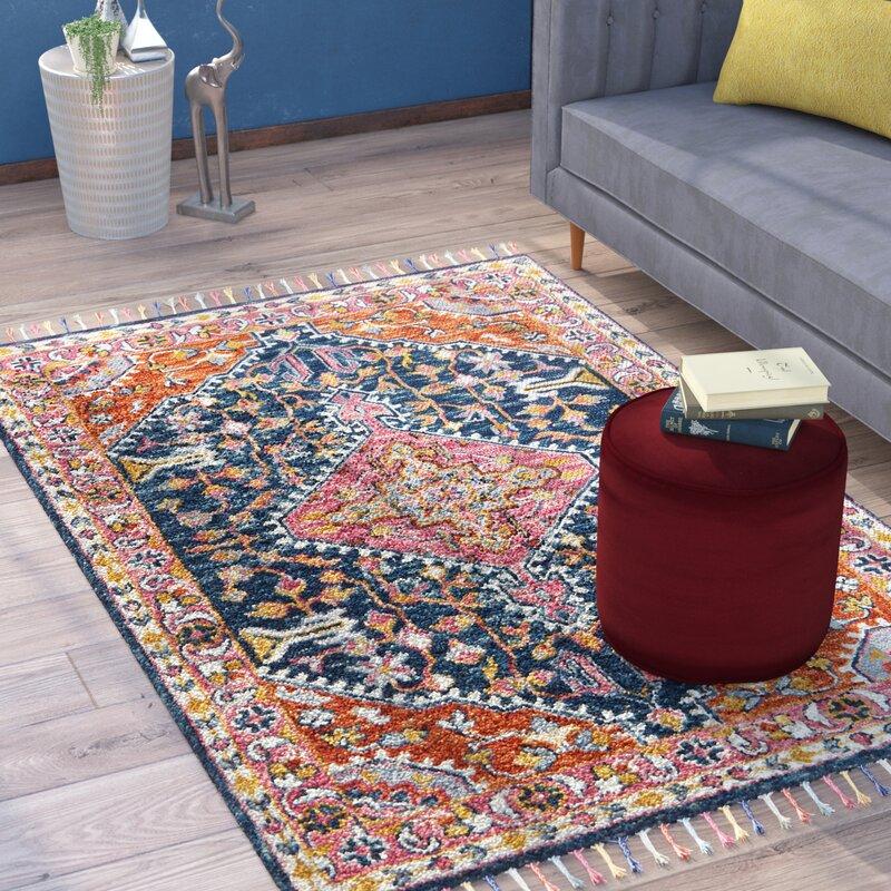 bloomsbury market rana hand hooked navy pink area rug reviews wayfair. Black Bedroom Furniture Sets. Home Design Ideas