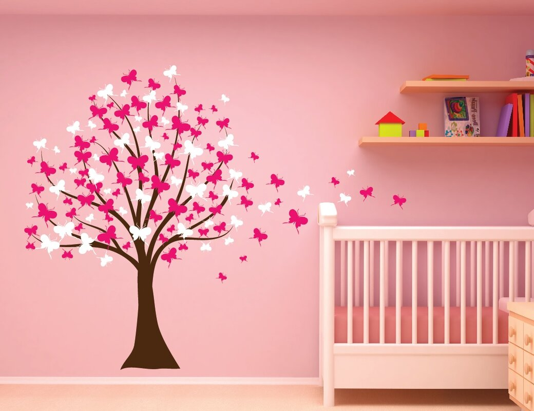 Butterfly Cherry Blossom Tree Baby Nursery Wall Decal