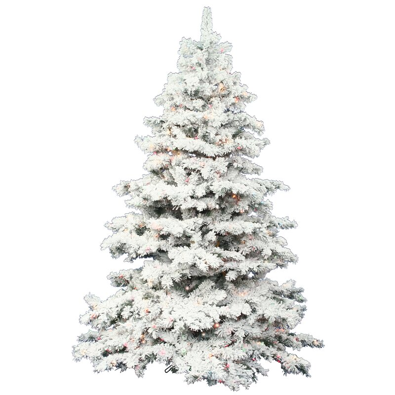 flocked alaskan 75 white artificial christmas tree with 900 dura lit clear lights with - Artificial Christmas Trees With Lights