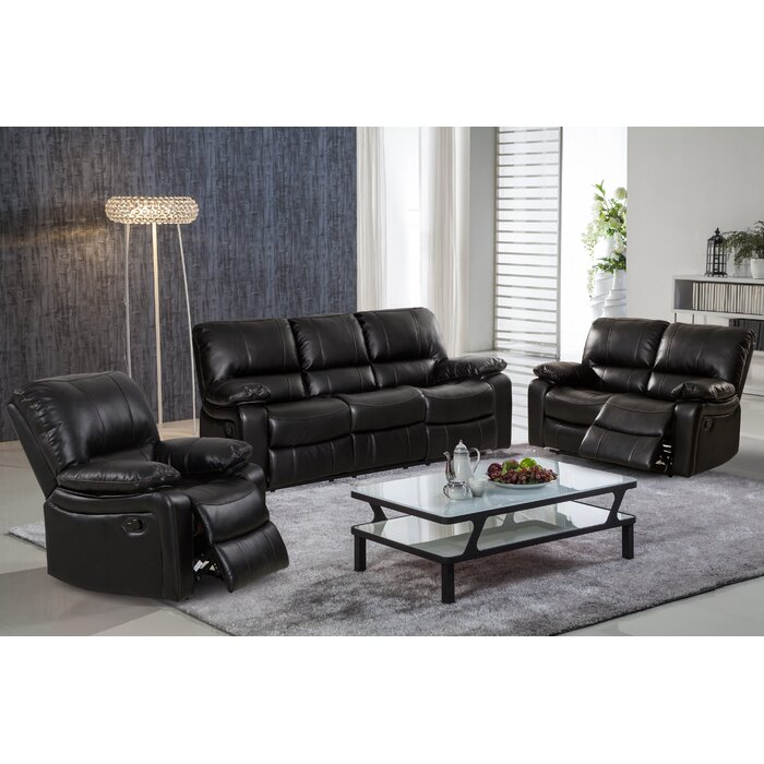 Layla 3 Piece Leather Living Room Set