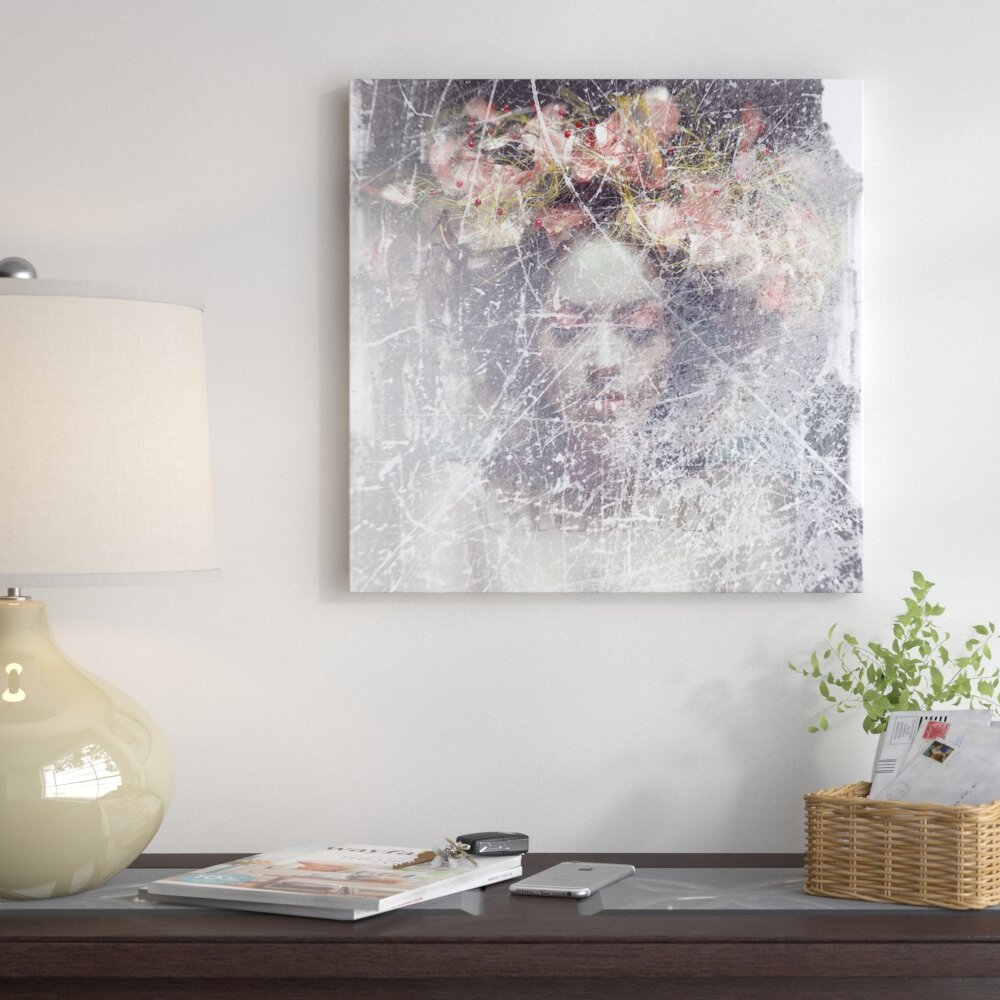 East Urban Home Flower Crown Graphic Art Print On Canvas Wayfair