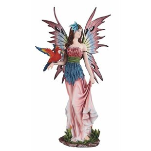 Colored Fairy With Bird Statue