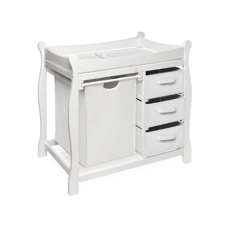 Merveilleux Deluxe Sleigh Style White Hamper Changing Table With Fabric Pad Cover