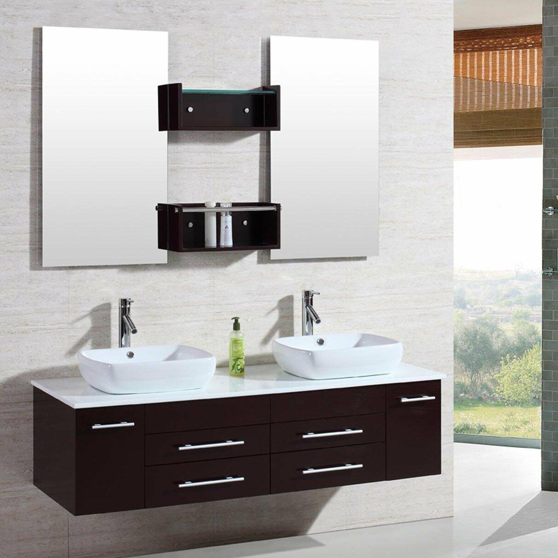 Floating bathroom vanities - 60 Double Floating Bathroom Vanity Set With Mirror