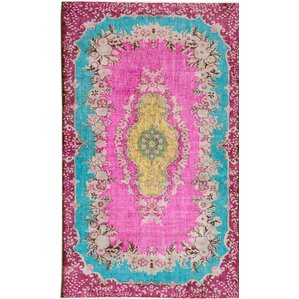 Revival Hand Knotted Green/Pink/Yellow Area Rug