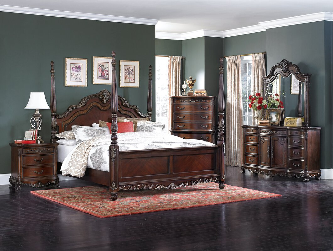 Astoria Grand Chalus Queen Four Poster Configurable Bedroom Set ...