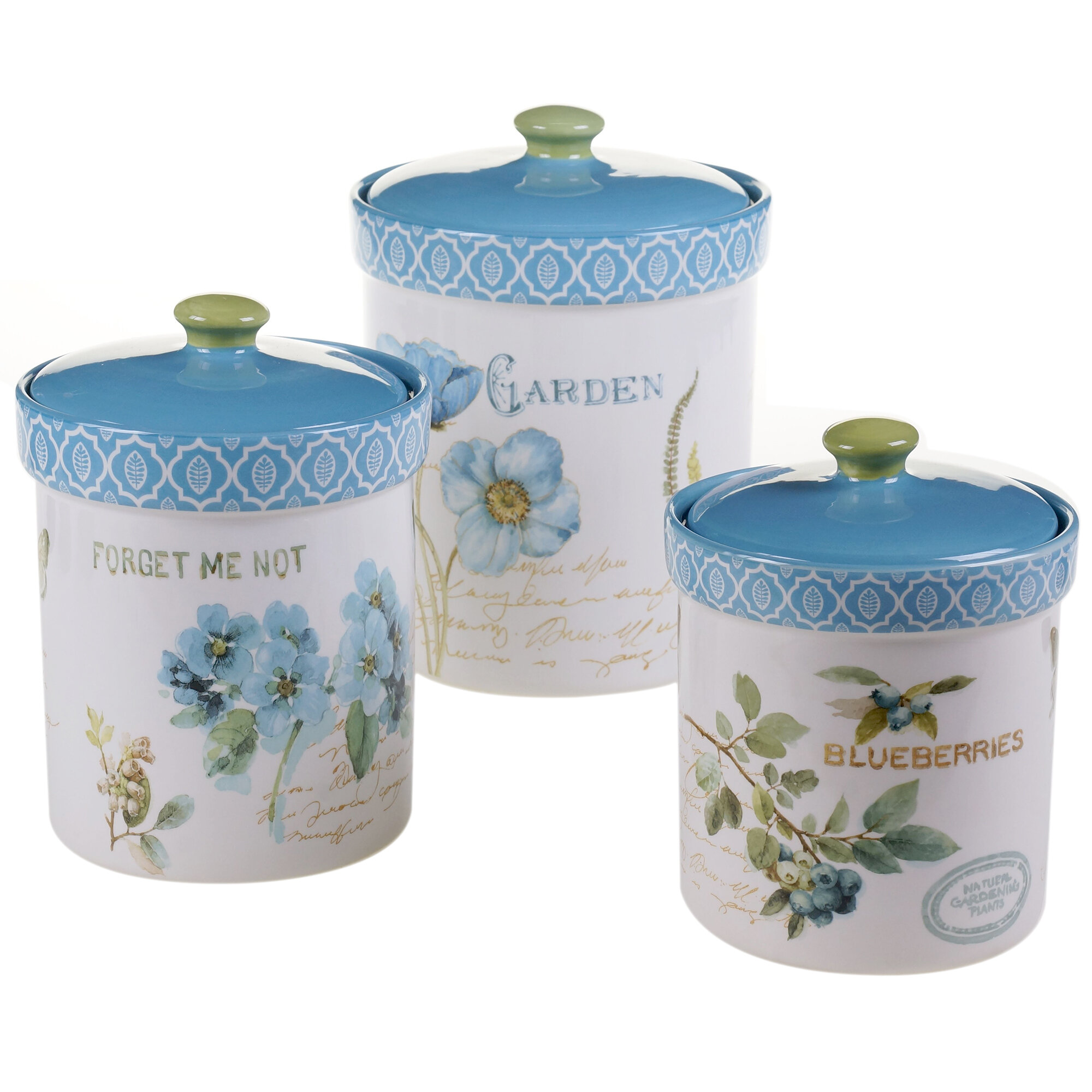 Certified International Greenhouse 3-Piece Kitchen Canister Set ...