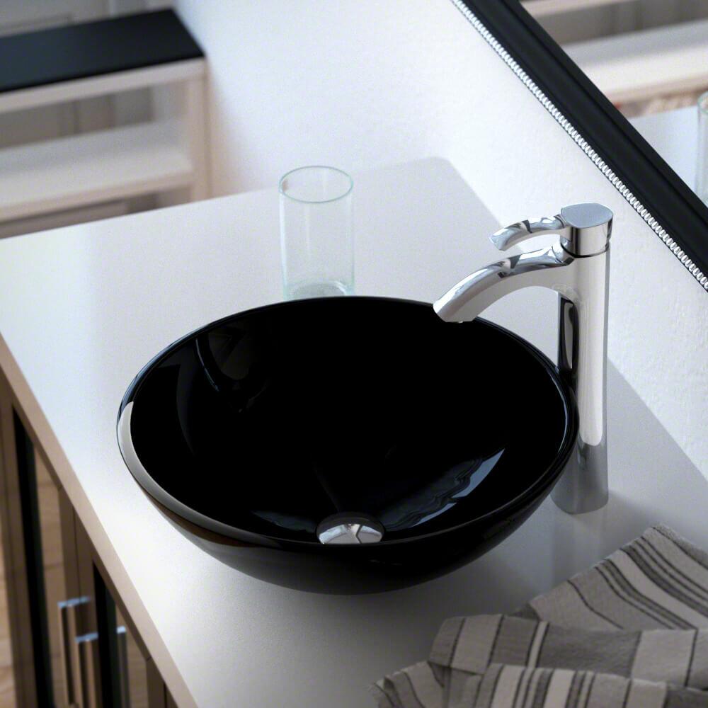 MRDirect Glass Circular Vessel Bathroom Sink with Faucet | Wayfair